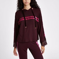 River Island Red Tape Side Lace Sleeve Hoodie