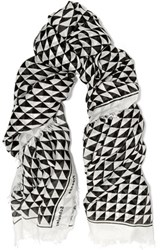 Proenza Schouler Printed Modal And Silk Blend Scarf Off White