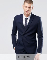 Only And Sons Skinny Double Breasted Blazer With Stretch Black Navy