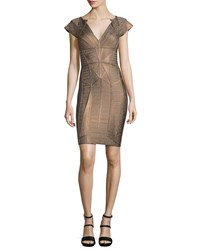 Herve Leger Cap Sleeve V Neck Bandage Dress Bronze Combo