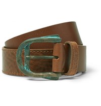 Maison Martin Margiela 4Cm Brown Layered Grained Leather Belt Brown