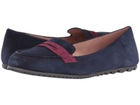 French Sole Touchstone Navy Burgundy Suede Women's Flat Shoes Blue
