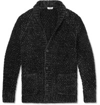 Saint Laurent Slim Fit Lurex Chenille Cardigan Black
