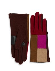Echo Colorblocked Cashmere Blend Touch Gloves Red