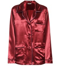 Bottega Veneta Satin Pajama Shirt Red
