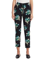 Red Valentino Tulip Bouquet Silk Track Pants Black