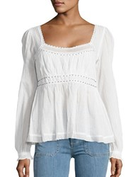 Free People Beaded Lace Trimmed Peasant Top Ivory