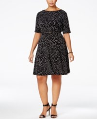 Charter Club Plus Size Dot Print Fit And Flare Dress Only At Macy's Deep Black Combo