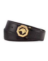 Stefano Ricci Crocodile Golden Eagle Buckle Belt Black