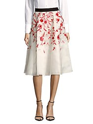 Noir Sachin And Babi Lantana Floral Embroidered Silk Skirt Ivory
