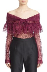Isa Arfen Women's Ruffle Knot Off The Shoulder Tulle Top