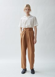 Y's Belted Tailored Twill High Waist Trousers Light Brown