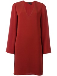 Theory Deep V Neck Dress Red