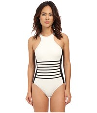 Dkny A Lister Racer Front Maillot W Stripping Detail Removable Soft Cups Black Women's Swimsuits One Piece