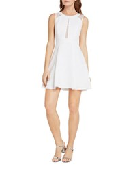 Bcbgeneration Lace Trimmed Fit And Flare Dress White
