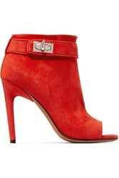 Givenchy Suede Peep Toe Ankle Boots Red