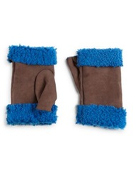 Saks Fifth Avenue Fingerless Shearling Lined Leather Gloves Brown