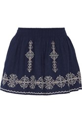 Joie Almanza Embroidered Cotton Mini Skirt Midnight Blue