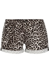 Rag And Bone The Boyfriend Leopard Print Denim Shorts Animal Print