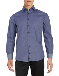Strellson Slim Fit Patterned Sportshirt Navy