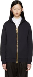 Palm Angels Navy Oversized Zipper Hoodie