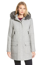 Vince Camuto Faux Fur Trim Hooded Wool Blend Duffle Coat Light Grey