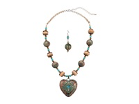Mandf Western Engraved Heart Pendant Necklace Earrings Set Brown Turquoise Jewelry Sets