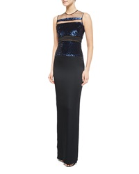 Pamella Roland Sleeveless Sequin Stripe Gown Black