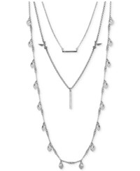 Lucky Brand Silver Tone Bird And Crystal Layer Necklace