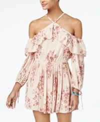 American Rag Juniors' Printed Cold Shoulder Dress Created For Macy's Pink