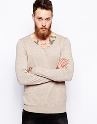 Asos Scoop Neck Jumper In Cotton Oatmeal