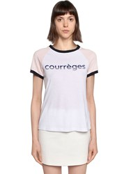 Courreges Logo Printed Cotton Jersey T Shirt White Pink