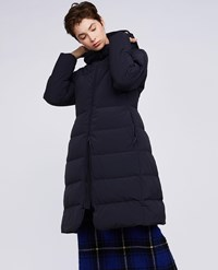 Aspesi Stretch Nylon Down Hooded Coat Amaranto Navy Blue