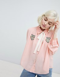Sister Jane Blouse With Ribbon Tie And Heart Patch Detail Pink