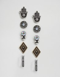 Asos Pack Of 5 Hamsa Stud And Hoop Earrings Mixed Metal Multi