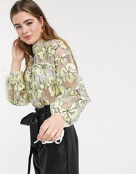 Lost Ink Top With Tie Cuffs And Back In Floral Organza Yellow