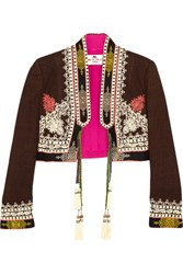 Etro Cropped Embroidered Silk Canvas Jacket Brown