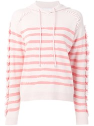 Barrie Fringed Striped Hoodie Pink And Purple