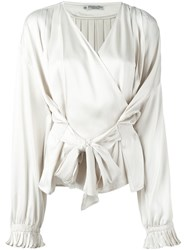 Christian Dior Vintage Wrap Blouse White