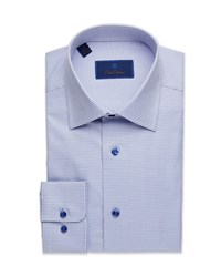 David Donahue Regular Fit Micro Gingham Dress Shirt Blue