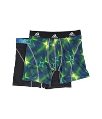 Adidas Sport Performance Climalite Graphic 2 Pack Boxer Brief Grammer Solar Green Grey Black Grey Men's Underwear Multi