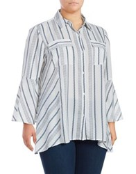 Jones New York Plus Stripe Bell Sleeve Blouse Ivory Combo