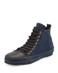 Cnc Costume National Suede Lace Up High Top Sneaker Navy Black Men's