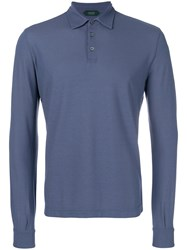 Zanone Long Sleeve Fitted Polo Top Blue