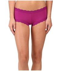 Hanky Panky Organic Cotton Boyshort W Lace Boysenberry Women's Underwear Pink