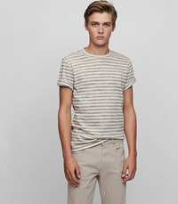 Reiss Jamie Stripe Crew Neck T Shirt In White Mens