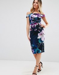 Jessica Wright Bardot Pencil Midi Dress In Floral Print Navy Floral