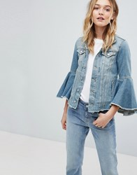 Pepe Jeans Ruffle Sleeve Denim Jacket Lime Blue Weave