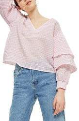 Topshop Petite Women's Layered Sleeve Gingham Top Pink Multi