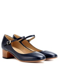 A.P.C. Victoria Leather Mary Jane Pumps Blue